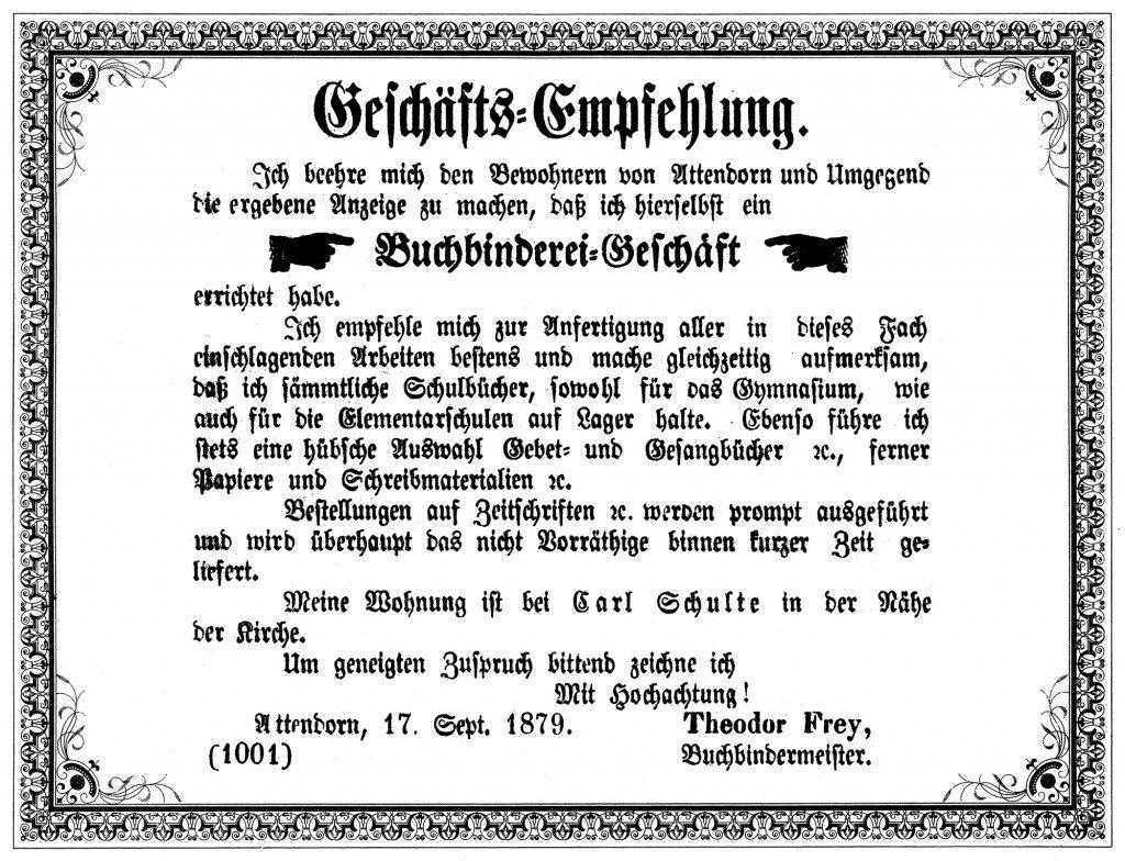 Historie - FREY PRINT + MEDIA - Anzeige zur Geschäftseröffnung 1879
