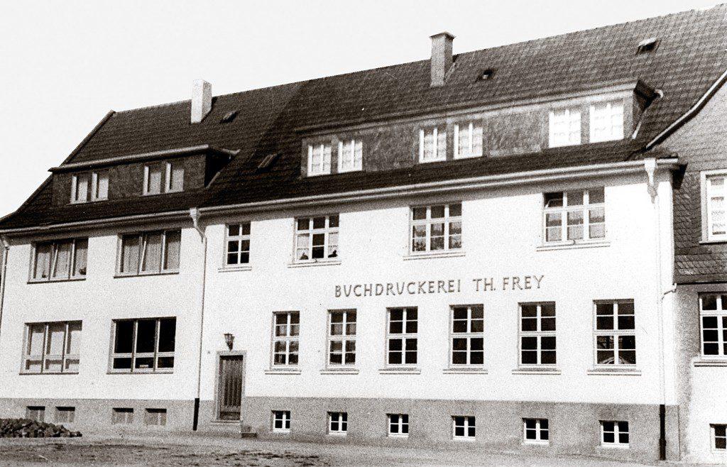 Historie - FREY PRINT + MEDIA - Fertiger Firmenanbau 1956