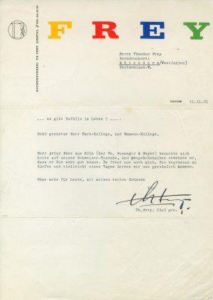 Historie - FREY PRINT + MEDIA - Anschreiben vom Namens- und Fachkollegen aus der Schweiz