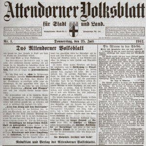 Historie - FREY PRINT + MEDIA - 1912 Attendorner-Volksblatt - Ausgabe 01