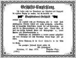 1879: Werbeanzeige Theodor Freys | FREY PRINT + MEDIA