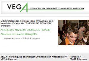 Newslettersystem für Schulen VEGA Vereinigung Ehemaliger Gymnasiasten Attendorn von FREY PRINT + MEDIA
