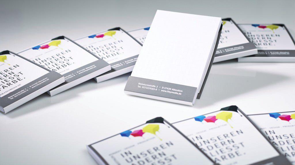 mini Werbeblocks mit Umschlag gestaltet und gedruckt von FREY PRINT + MEDIA