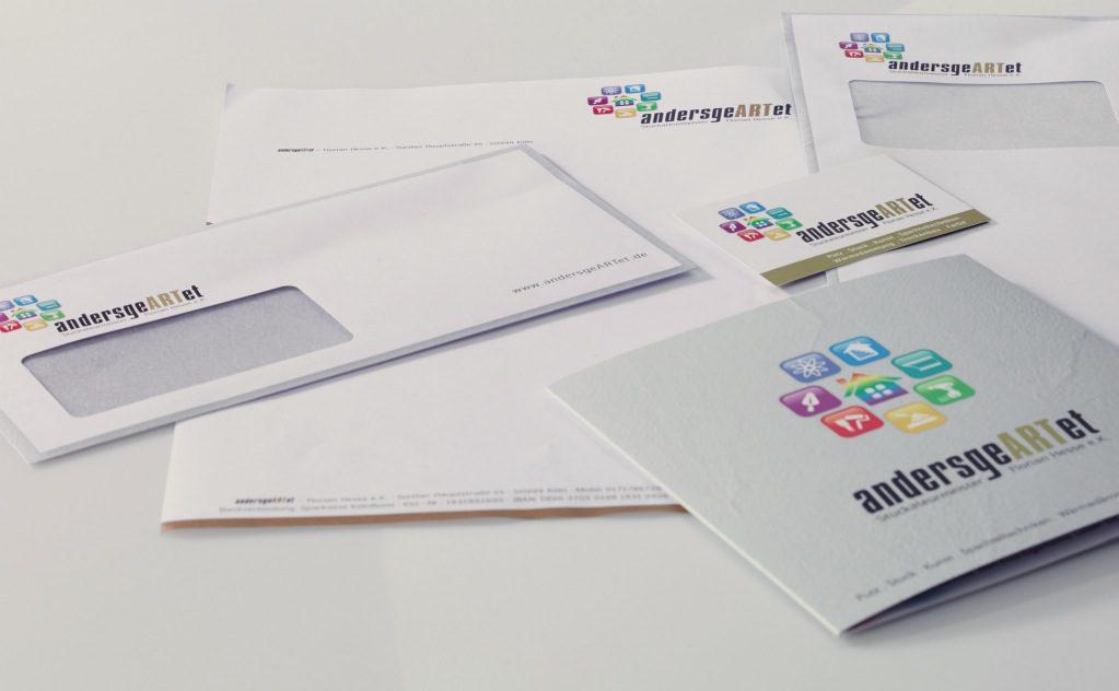Geschäftsausstattung - Drucksachen von FREY PRINT + MEDIA andersgeartet-Geschaeftspapier