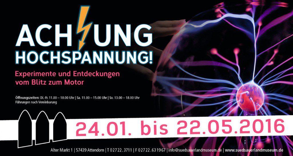 Einladungskarten drucken für Ausstellung Achtung Hoxhspannung im Südsauerlandmuseum von FREY PRINT + MEDIA