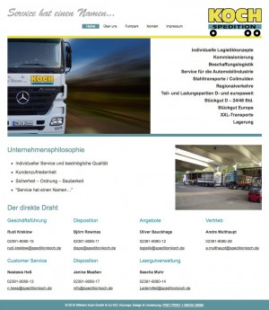 Neue Internetseite für Spedition Koch in Plettenberg von FREY PRINT + MEDIA